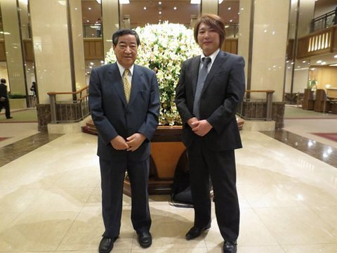 The homeless Yukawa cleaned up, quite nicely. In this luxury Tokyo hotel, he stands with Toshio Tamogami, Former Chief of Staff of Japan's Air Self Defense Force.
