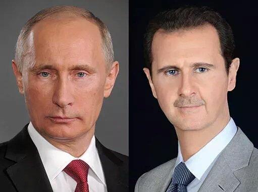 Russian President Vladimir Putin (left) and Syrian President Dr. Bashar Assad