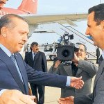 Syrian President Dr. Bashar Assad (right) sincerely welcoming Caliph wannabe Erdoğan (left with obvious fake feelings)