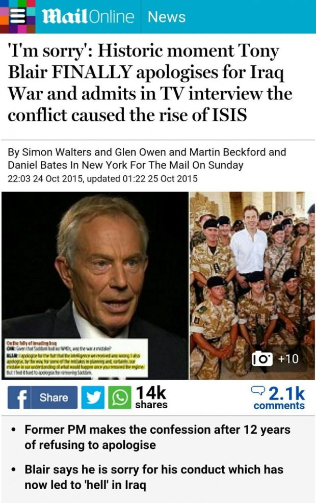 Ton your Blair apologizes for his crimes in Iraq war