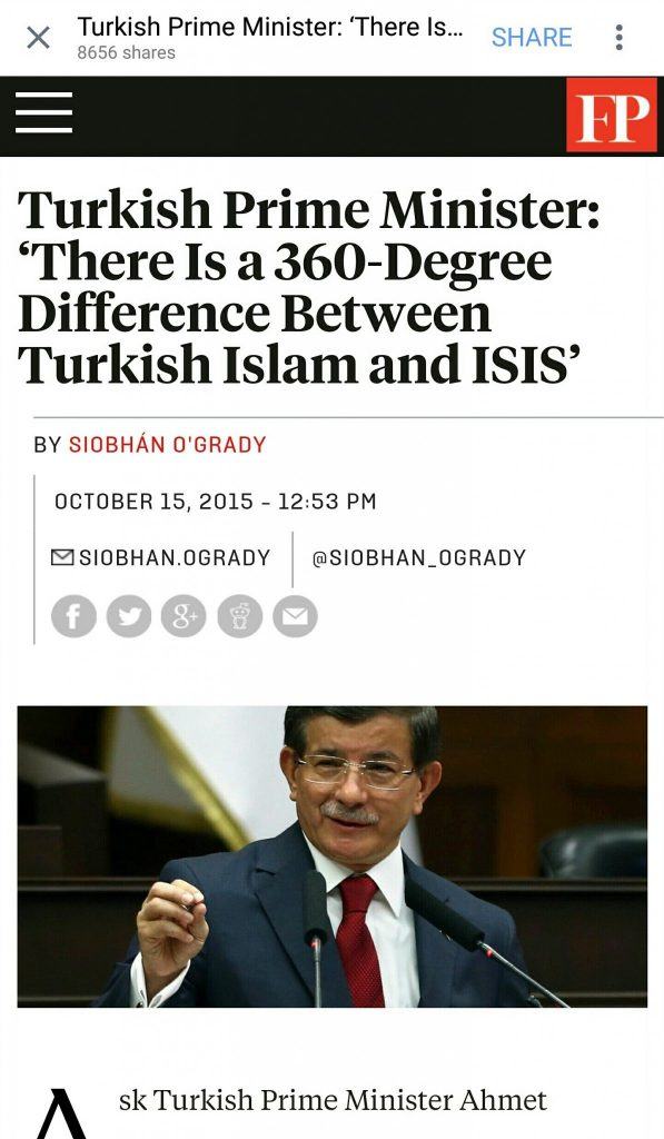 Turkish Prime Minister Ahmet Davutoglu agrees with ISIS