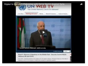 Dr. Riyad H. Mansour, addressing the media after weekend of secret meetings.