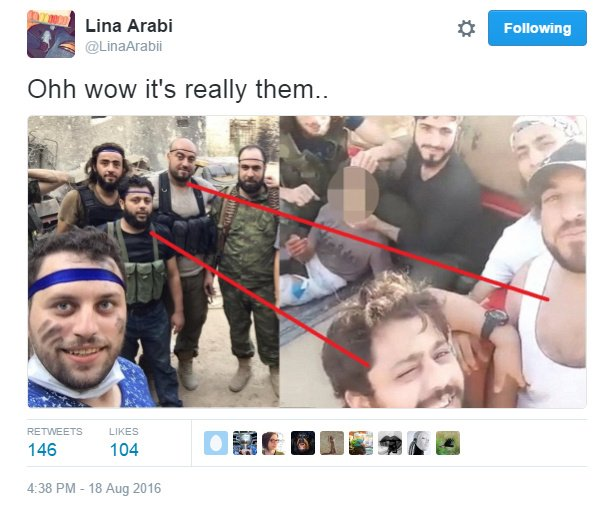 Rslan 'selfie' with human beasts who cut off 12 year old Abdullah Issa's head.