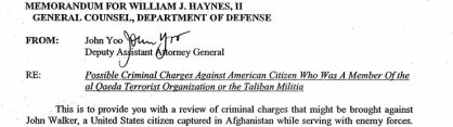 Department of Justice intent to charge civilian