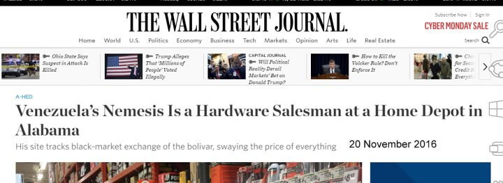wsj cheering home depot dweeb for manipulating venezuelan currency