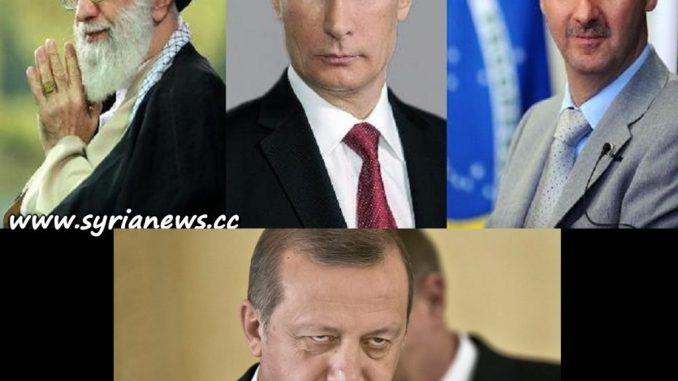 image-Ayatollah Khamenei of Iran, Vladimir Putin of Russia, Bashar al-Assad of Syria and the evil Erdogan of Erdoganstan (formerly known as Turkey)