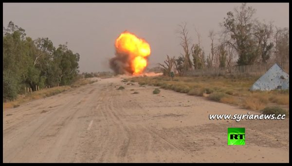 image-Russian sappers detonate an IED during their demining mission in Deir Ezzor