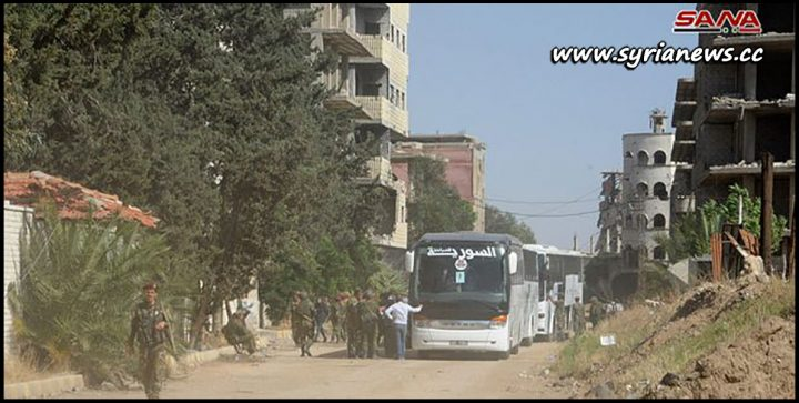 image-Busses prepared to move terrorists from Yalda Babilla and Bet Sahm south of Damascus to the north of Syria