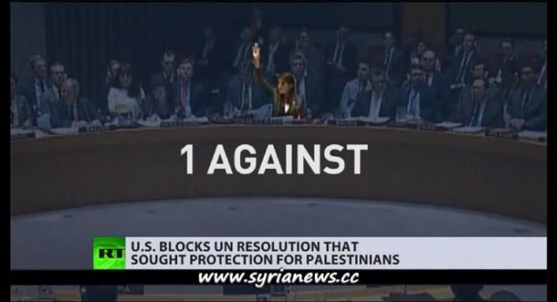 image-US Alone Blocks UNSC Resolution to Protect the Palestinian People, all other 14 members voted for the resolution.