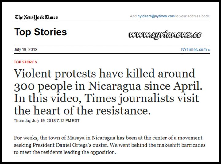 New York Times - Nicaragua Rioters are Resistance