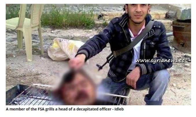 Idlib 2013. The FSA terrorist grilled the severed head of a Syrian soldier. What degenerate normalizes such atrocities?