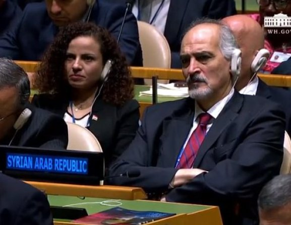 femicide Syrian Ambassador H.E. Jaafari listens while Trump cries havoc & lets slip more dogs of war.