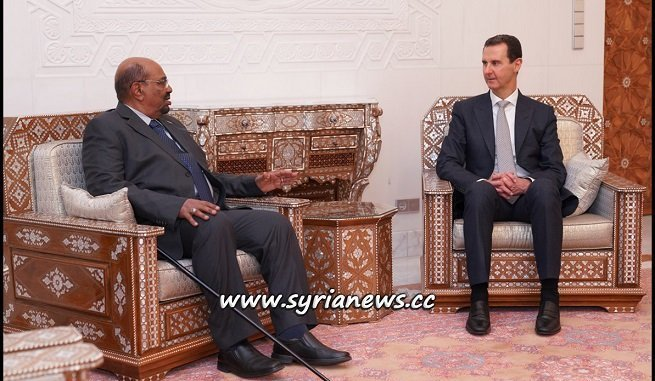 Syria President Bashar Assad Receives Sudan President Omar Bashir in Damascus