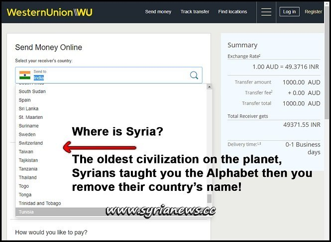 Western Union Removed Syria from the Countries List