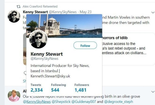 Kenny Stewart Tweet retweeted by Alex Crawford