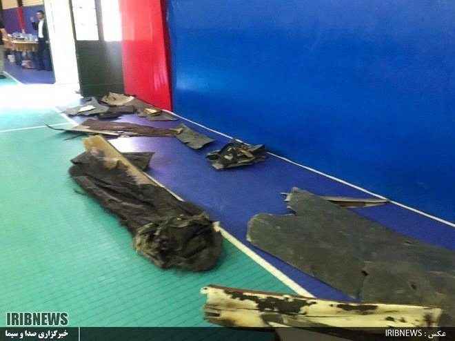 Wreckage from the US RQ-4A Global Hawk High-Altitude Drone displayed by Iran