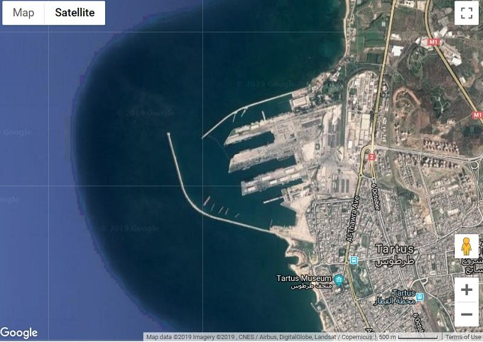Satellite image of Baniyas Marine Terminal which its undersea oil pipelines were sabotaged by NATO