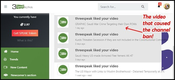 The Irony - 3Speak Liking the Same Video that Caused the Channel Ban!