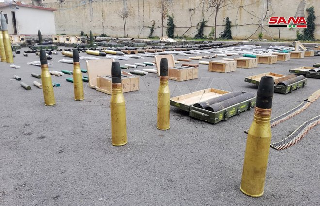 Weapons and Munitions left behind by terrorists south of Syria