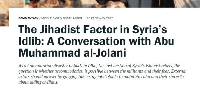 Crisis Group promoting Al-Qaeda's Jolani terrorist