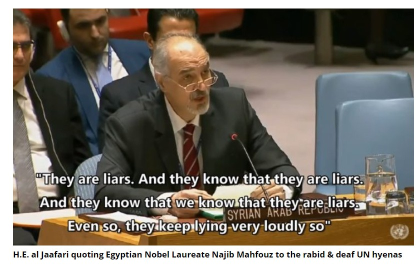 H.E. Bashar al Jaafari noted UNSC being turned into a platform for North Atlantic Treaty Organization to support Turkish aggression against Syria. [Archive]