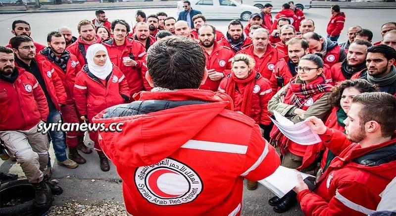 Syria SARC Syrian Arab Red Crescent volunteers