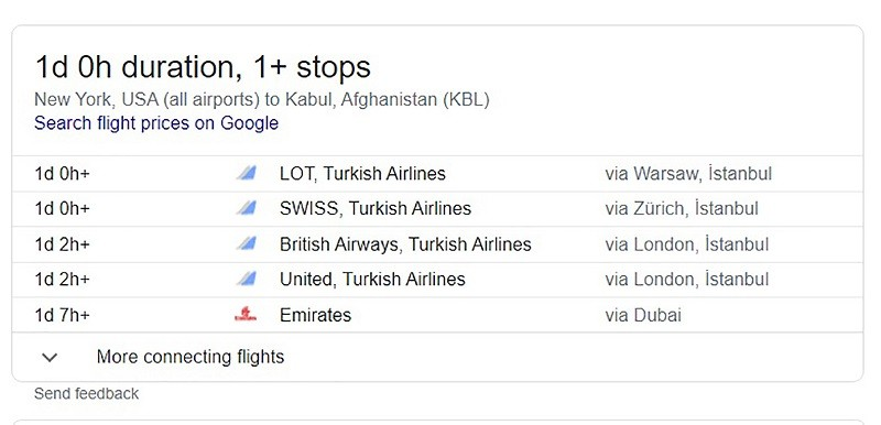 New York to Kabul flight - google search