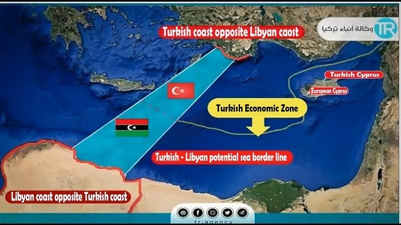 Turkish coast opposite Libyan coast - Turkish Economic Zone - as per TR