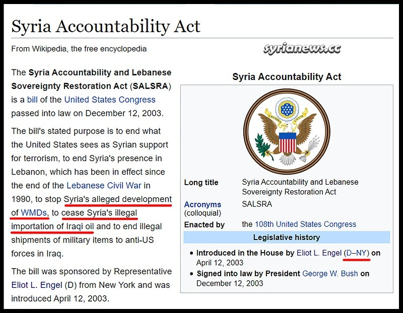 Syria Accountability Act - USA George W. Bush Eliot Engel