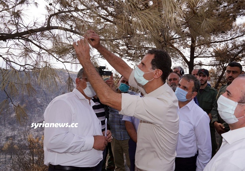 President Assad inspects the fires aftermath in Latakia countryside