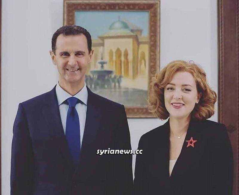 Syrian President Assad with Olga Belova of Russian Ministry of Defense Zvezda TV