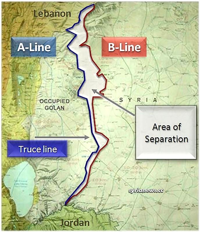 Syria Golan - Israel Map of Area of Separation UNDOF deployment