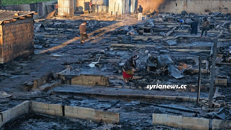 Lebanese armed terrorists set fire to displaced Syrian refugees tents in northern Lebanon