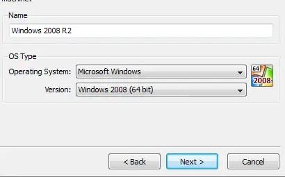 Install Windows Server 2008 R2 on VirtualBox