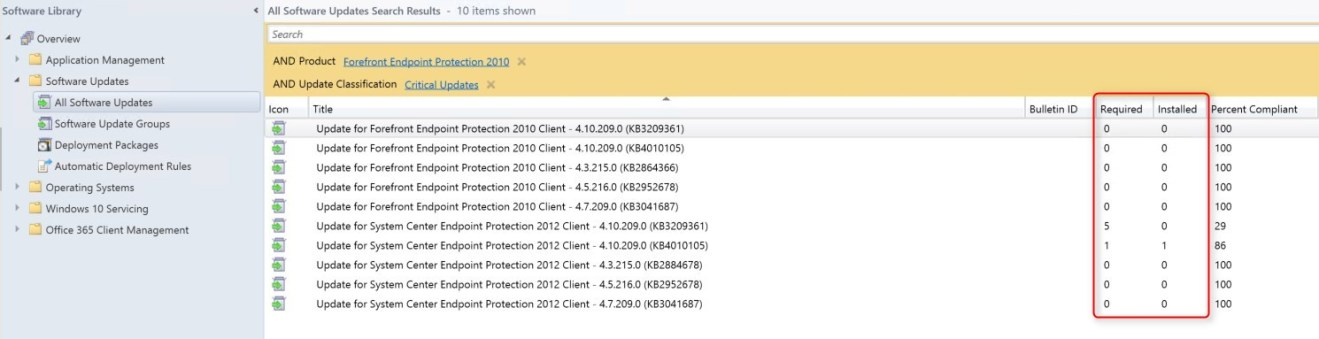 SCCM Endpoint Protection agent version