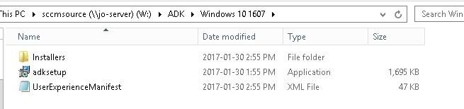 SCCM Update Windows ADK