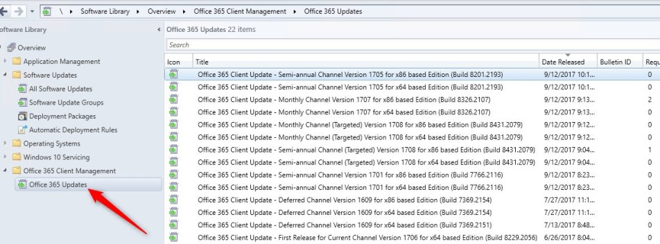 Manage Office 365 Update SCCM 1706
