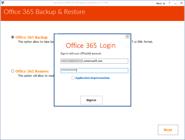 To export login Office 365 backup software