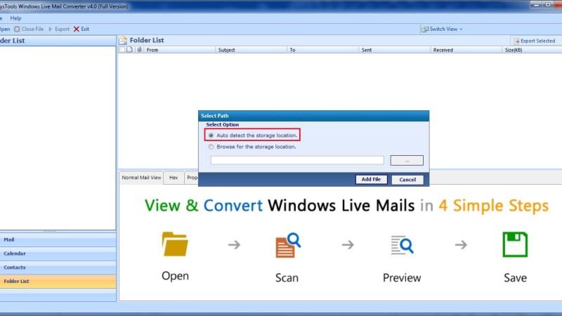 просматривать данные Windows Live Mail