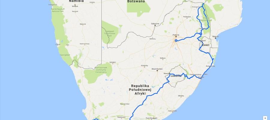Trasa pierwszej podróży do Afryki