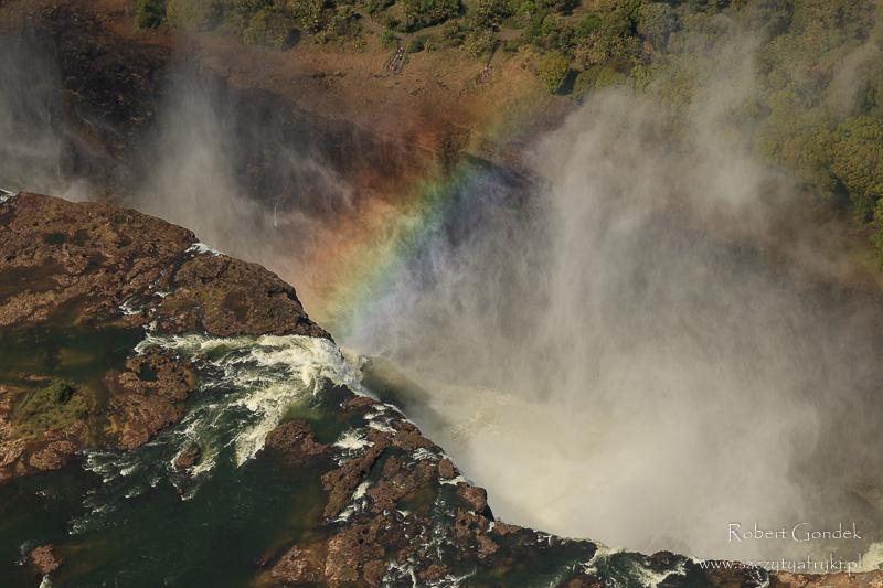 Fotografowanie ptaków w Zimbabwe - Tęcza nad wodospadami Wiktorii
