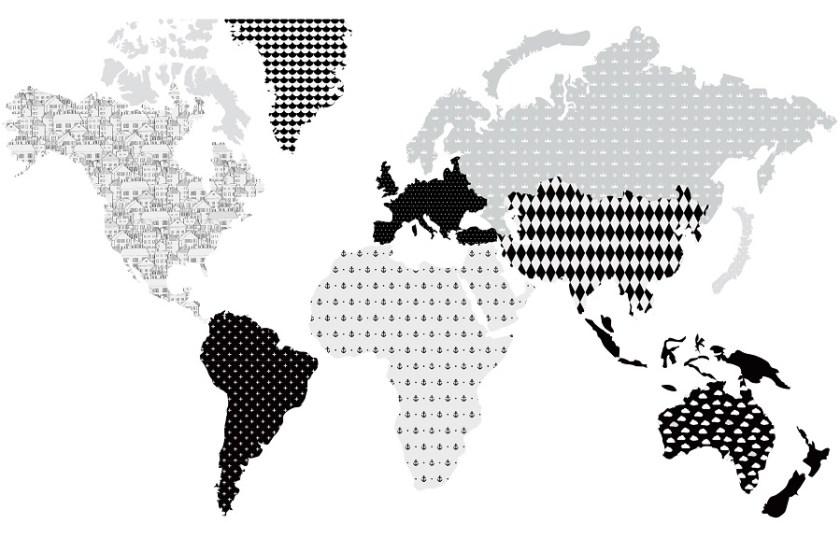 Naklejka z mapą świata