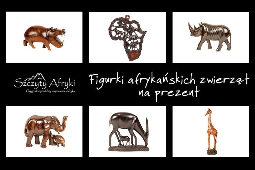 Oryginalne figurki afrykańskich zwierząt z drewna na prezent