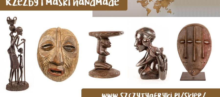 Rzeźby i maski handmade z Afryki w afrykańskim sklepie Szczyty Afryki