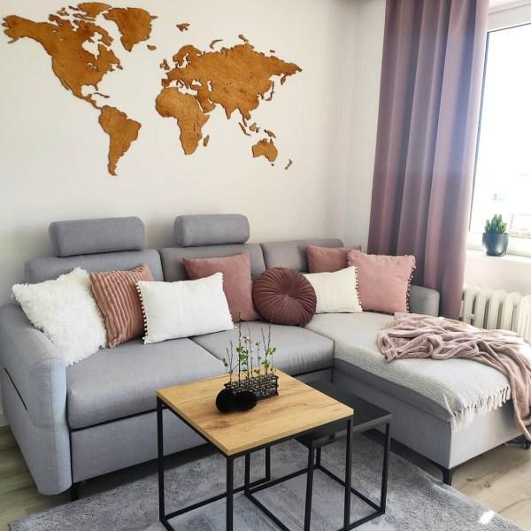 Dekoracja domu - drewniana mapa świata na ścianę z granicami państw