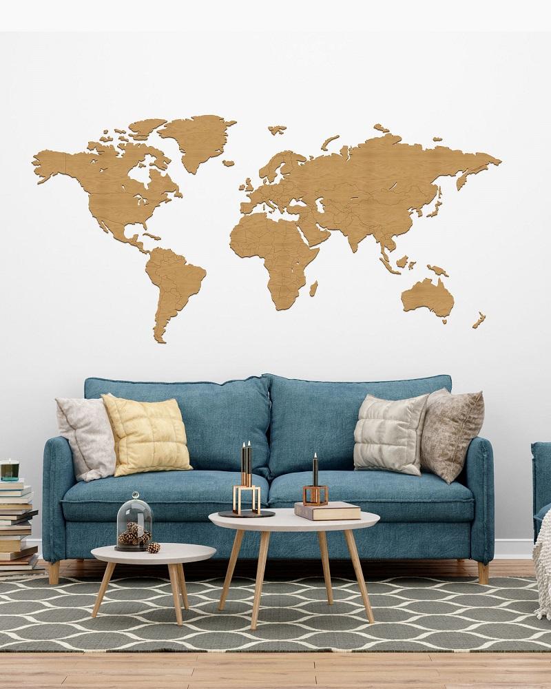 Drewniana dekoracja mapa świata na ścianę z granicami - kolor dąb