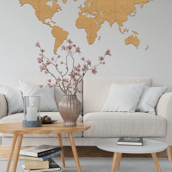 Drewniana dekoracja mapa świata na ścianę z granicami w kolorze dąb