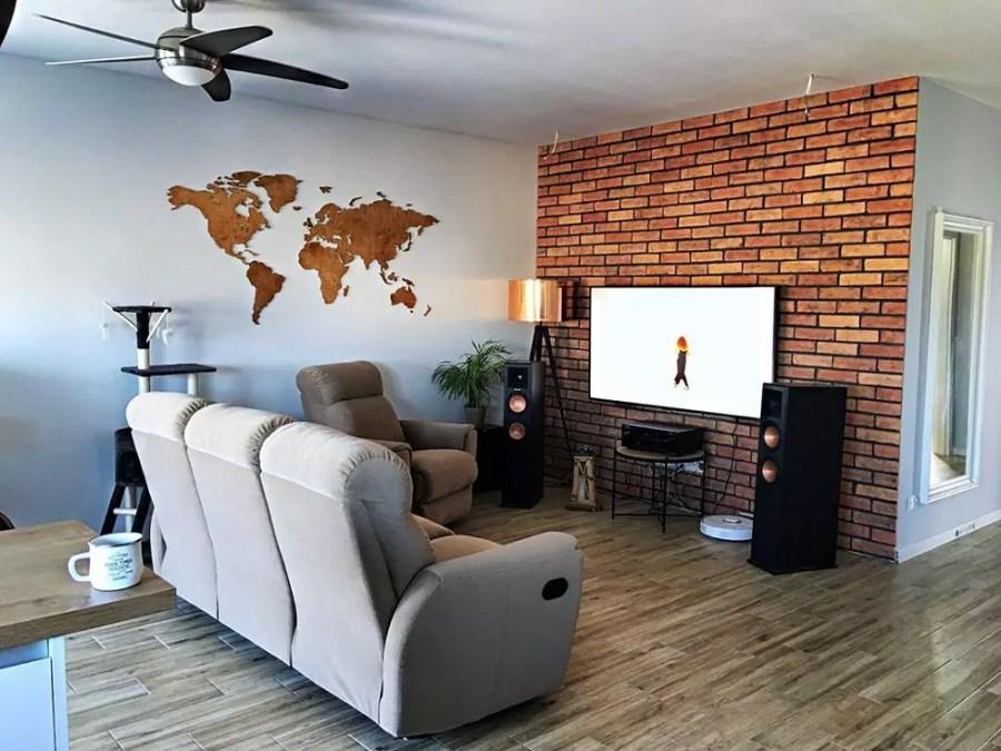 Drewniana dekoracja mapa świata na ścianę z granicami