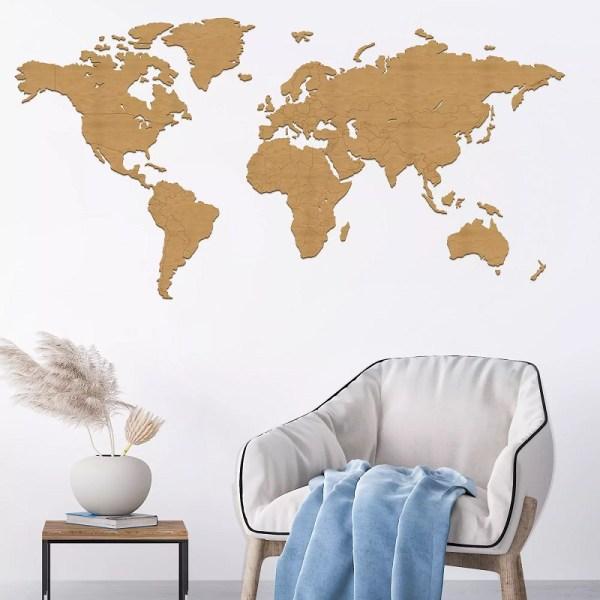 Drewniana ścienna dekoracja - mapa świata z granicami