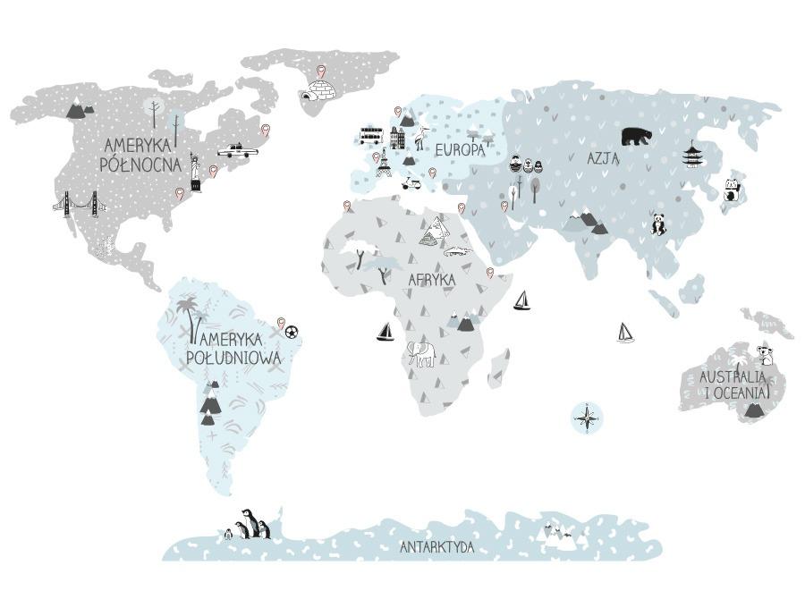 Mapa edukacyjna świata - naklejka na ścianę eco kolor